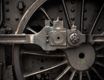 Train Locomotive Wheel Close Up Gallery Wrap