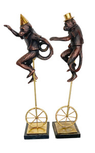 Set of 2 Whimsical unicycle Monkeys