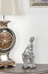 Silver Glass Mosaic Sitting Lady