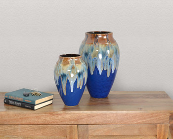 Copper With Blue Glaze Asian Fusion Vase set of 2