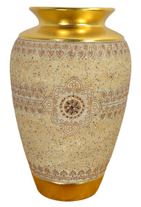 Insculpted Large Jeweled Vase