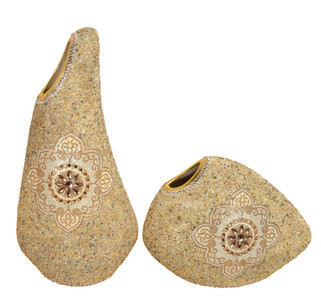Insculpted Jeweled Art Vase Set Of 2