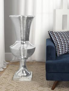 Tall Silver Glass Mosaic Vase