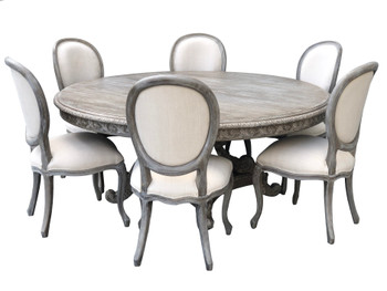 Mystique Gray Mahogany Anglia Dining Table and Chair Set of 7