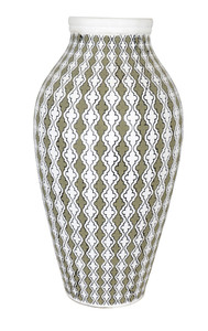 """Olive White Madeira  Vase 18"""""""