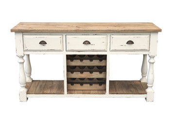 Farmhouse Console Wine Rack White Chalk Finish and Natural Top