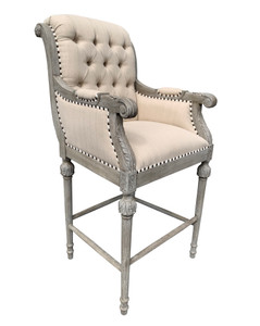 Continental Mystique Grey Linen Bar Stool