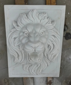 Hunan White Marble Lion Wall Art GE19541