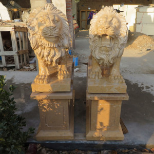 Pair of Yellow Stone Lions on Pedestal GE19730