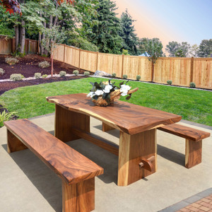 "79"" Long Modern Live Edge Suar Wood Dining Table Set With 2 Benches"