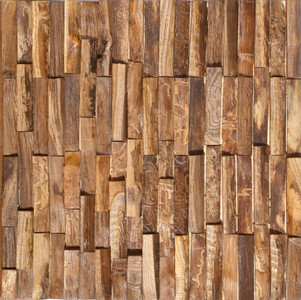 Reclaimed Teak Rustic Mosaic Wall Panel
