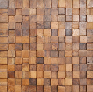 Reclaimed Teak Square Mosaic Wall Panel