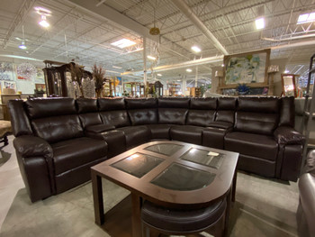 Brown Chocolate Sectional With Console