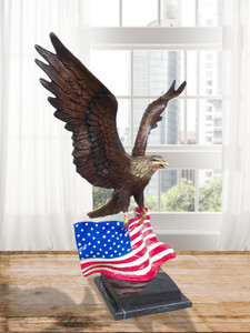 Eagle of America Flag and Marble Base