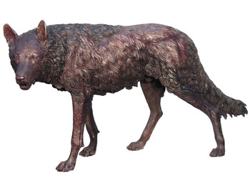 Bronze Wolf Standing 54 Inches Long