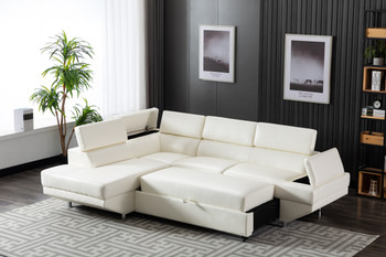 White Sofa With Storage and Sleeper Ottoman