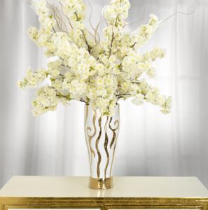 Golden Zebra With White Vase 20 Inch