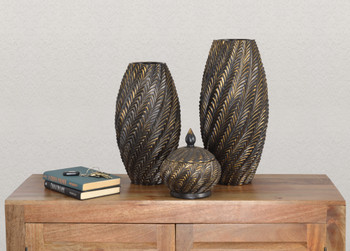 Oil Bronze Vase Set of 2