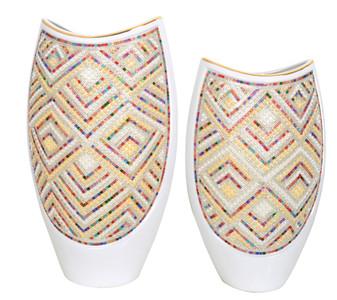 White Crystal Rainbow Vases Set of 2
