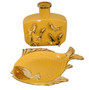 Yellow Fish Plate and Vase Set of 2