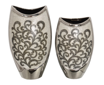 Silver Black Crystal Scroll Vases Set of 2