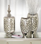 Silver Black Crystal Scroll Vases Set of 2