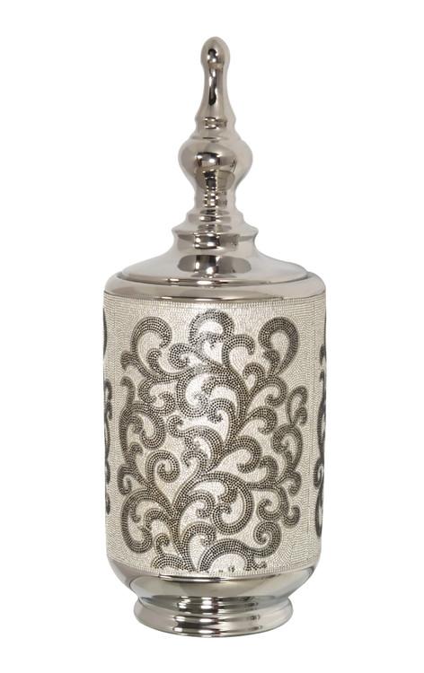 Silver Black Crystal Scroll Small Box