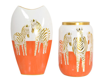 Zebra White Gold and Orange Vases set of 2