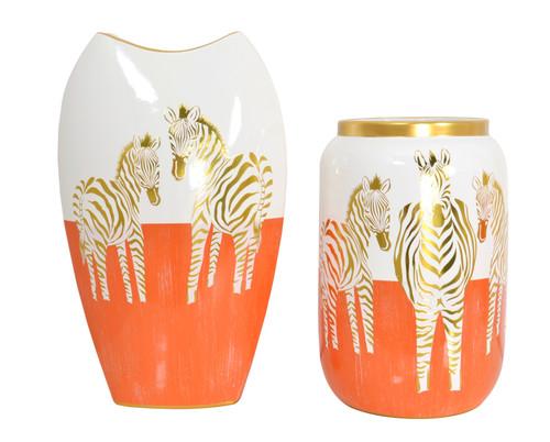 Zebra White Gold and Orange Vases set of 2