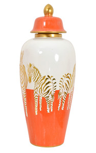 Zebra White Gold and Orange Urn With Lid