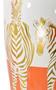 Zebra White Gold and Orange Urn With Lid