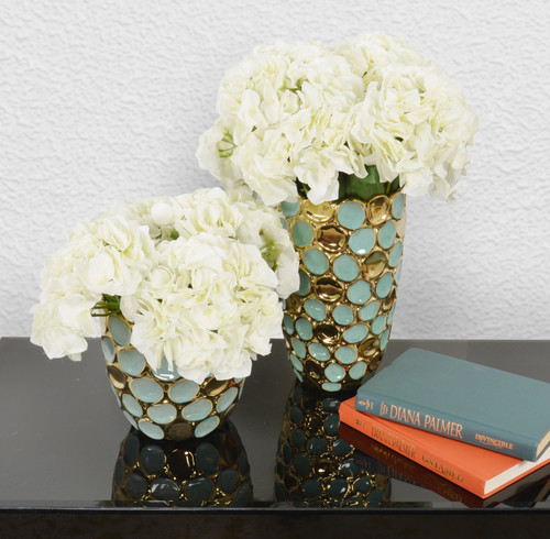 Torquoise and Gold Accent Vases Set of 2
