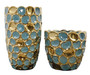 Set of 2 Torquoise and Gold Accent Vases