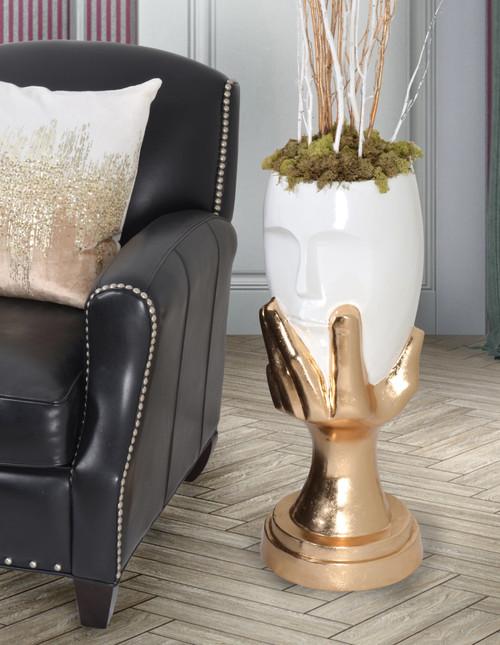 Gold and White Pondering Hand Vase