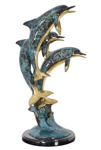 Friends Three Jumping Dolphins Dark Patina on Marble Base 23 Inches Tall