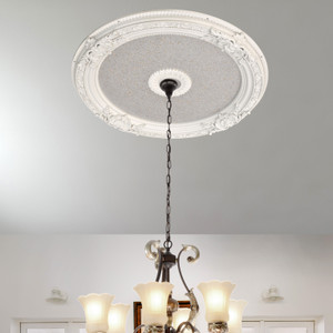 White and Silver Round Chandelier Ceiling Medallion 36in