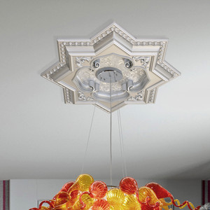Silver Eight Pointed Star Chandelier Ceiling Medallion 24in