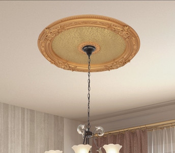 Golden Round Chandelier Ceiling Medallion 36in
