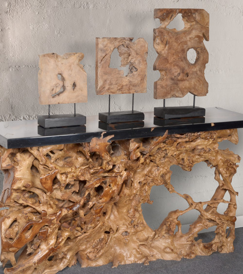 Teak Wood Natural Stand Deco Set of 3