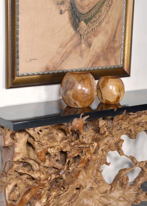 Teak Natural Vase Set of 2