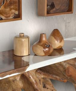 Teak Wood Mini Vases Set of 3