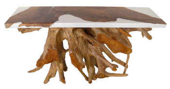 Teak Root Console White Resin